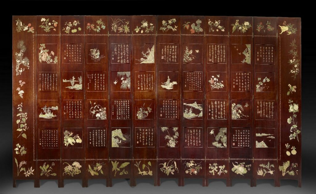 Dos d'un paravent de Coromandel à 12 feuilles à décor de paradis taoïste