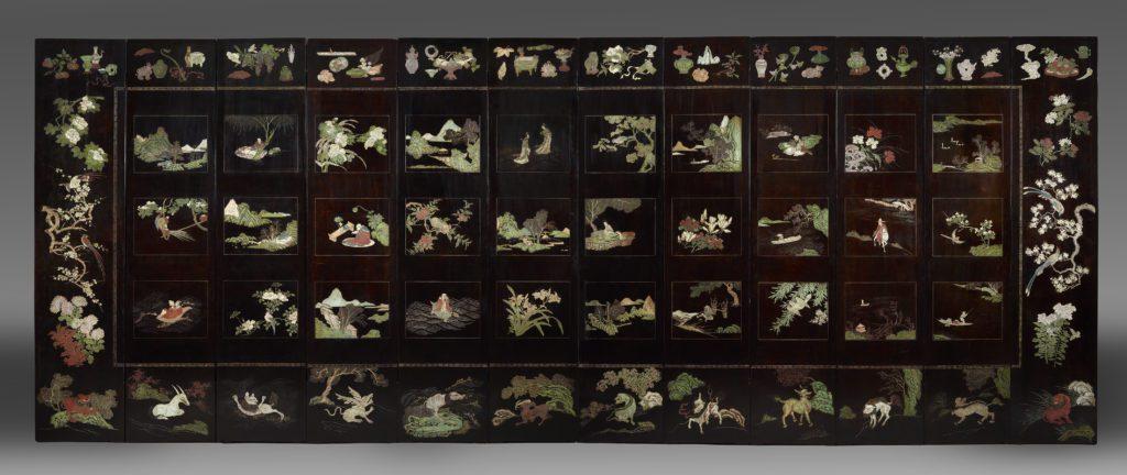 Dos d'un paravent de Coromandel à 12 feuilles à décor taoïste bleu-vert