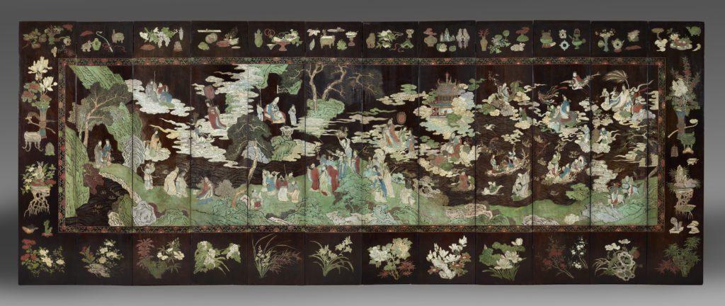 Face d'un paravent de Coromandel à 12 feuilles à décor taoïste bleu-vert 243cm x 52 (par feuille)