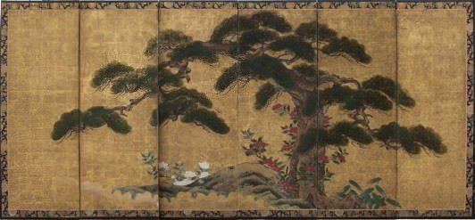 Paravent japonais à décor de pin sur fond or. XVIIIe siècle