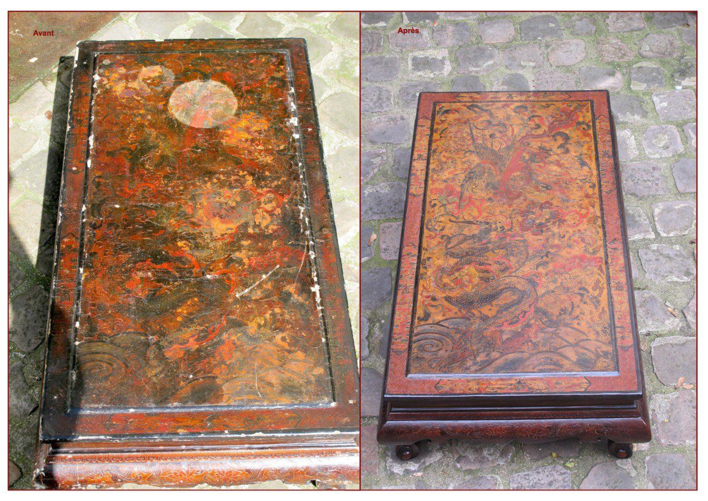 Plateau d'une table en laque gravée avant-apres