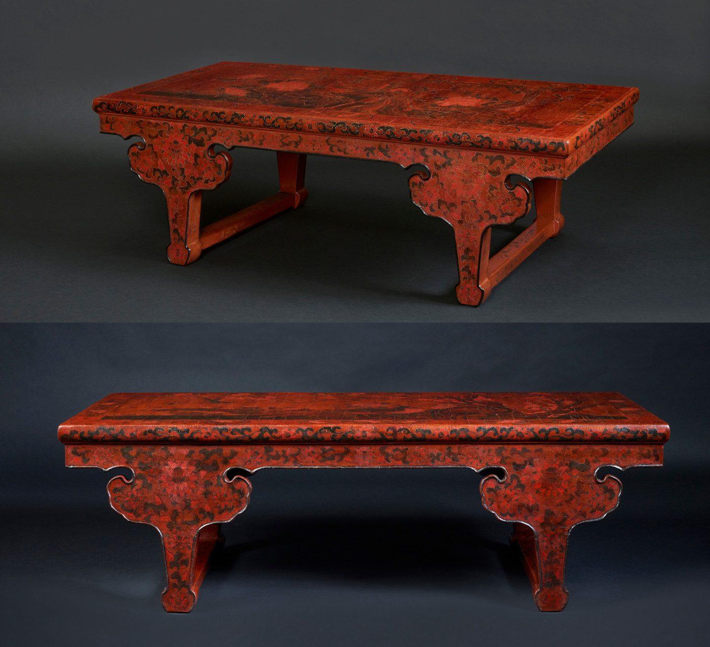 Paires de table de kang en laque gravée (32cm x 108cm x 59cm)
