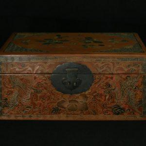 Boîte caramel à décor de phénix et papillons