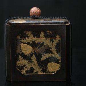 Boîte à décor d'insectes et fougères